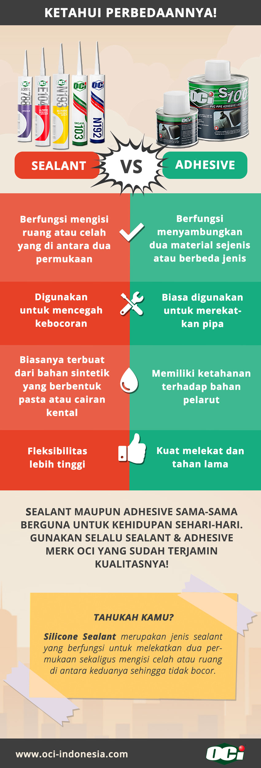 infografis perbedaan sealant dan adhesive